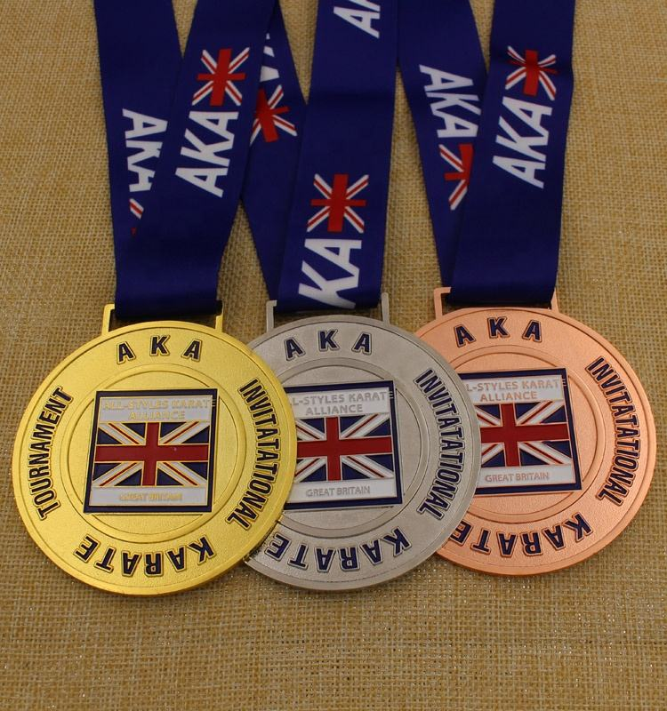 Custom high quality color filled gold silver bronze karate medallion sports medal award