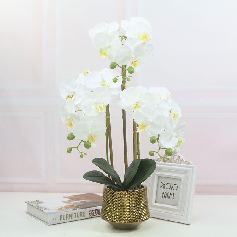 real touching beautiful 3D printing artificial flowers white butterfly orchid in pots for restaurant home garden decoration