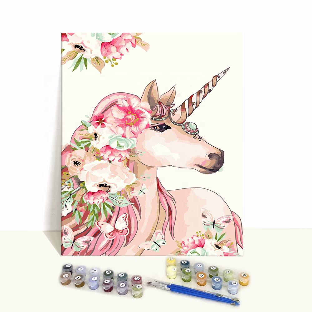 Modern New Diy Handpainted Students Canvas Kits Unicorn Paint by Numbers on Canvas