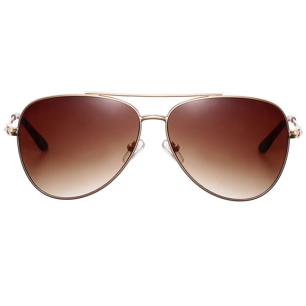 Metal adult fashion big lens pilot amber vision sunglasses