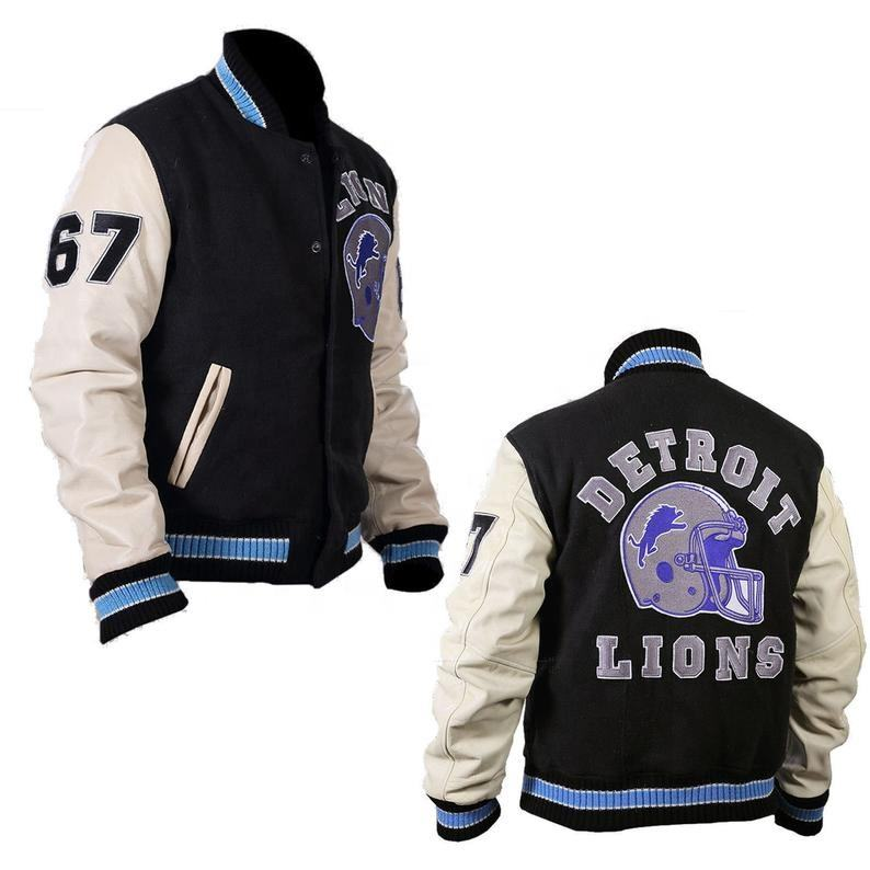 Wholesale Custom made Beverly Hills Cop Eddie Murphy Axel Foley Detroit Lions Varsity Letterman Jacket Black Off White