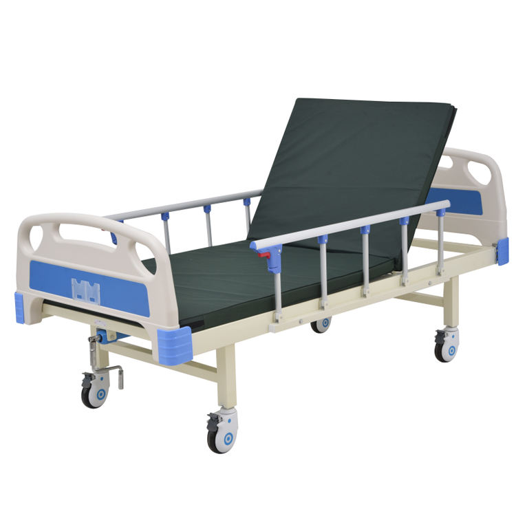 Manual HB-M-G023 Movable Medical Epoxy single function Hospital one crank Bed for patient
