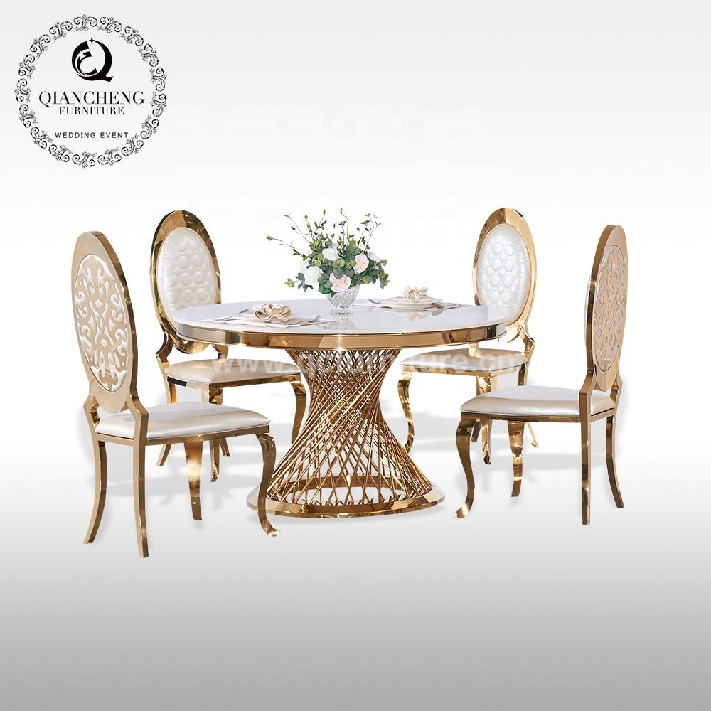 royal luxury wedding stainless steel gold dining table round marble top and chair designs
