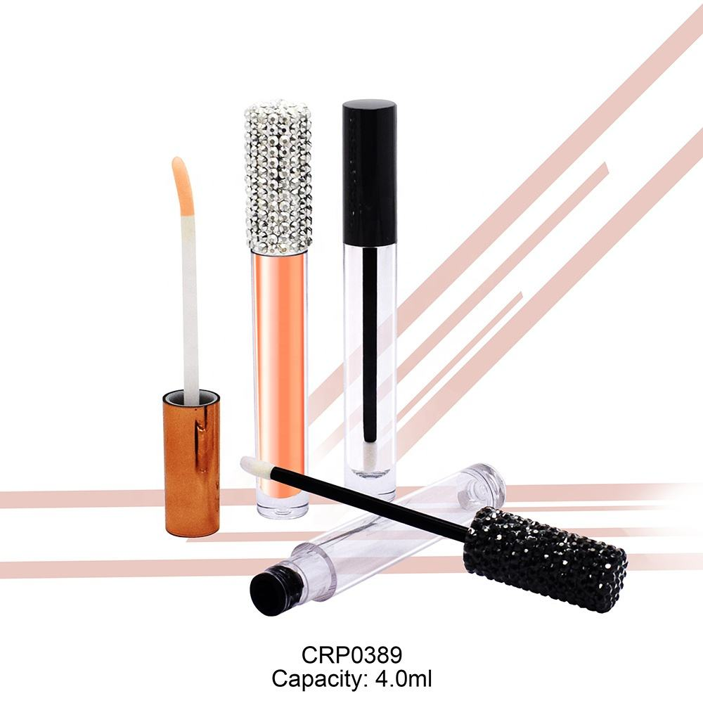 Wholesale slim cylinder lipgloss wand tube private label 4ml crystal diamond cap empty luxury lipgloss tube with brush