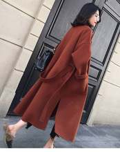 Women Winter Warm Woolen Coat Elegant Trench Parka Jacket Belt Button Pocket Overcoat Outwear