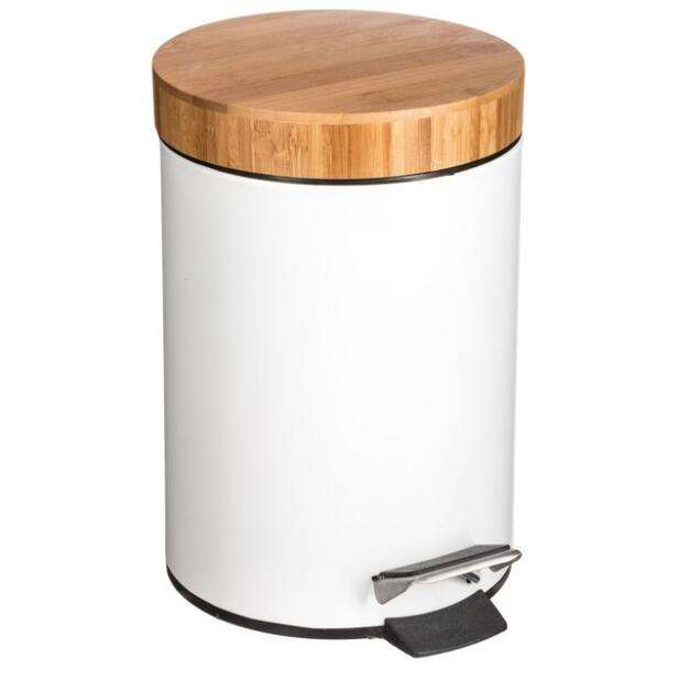 Fashion 3L 5L Waste Foot Pedal Dust Bin Bamboo lid Stainless Steel Plastic trash can In Bathroom
