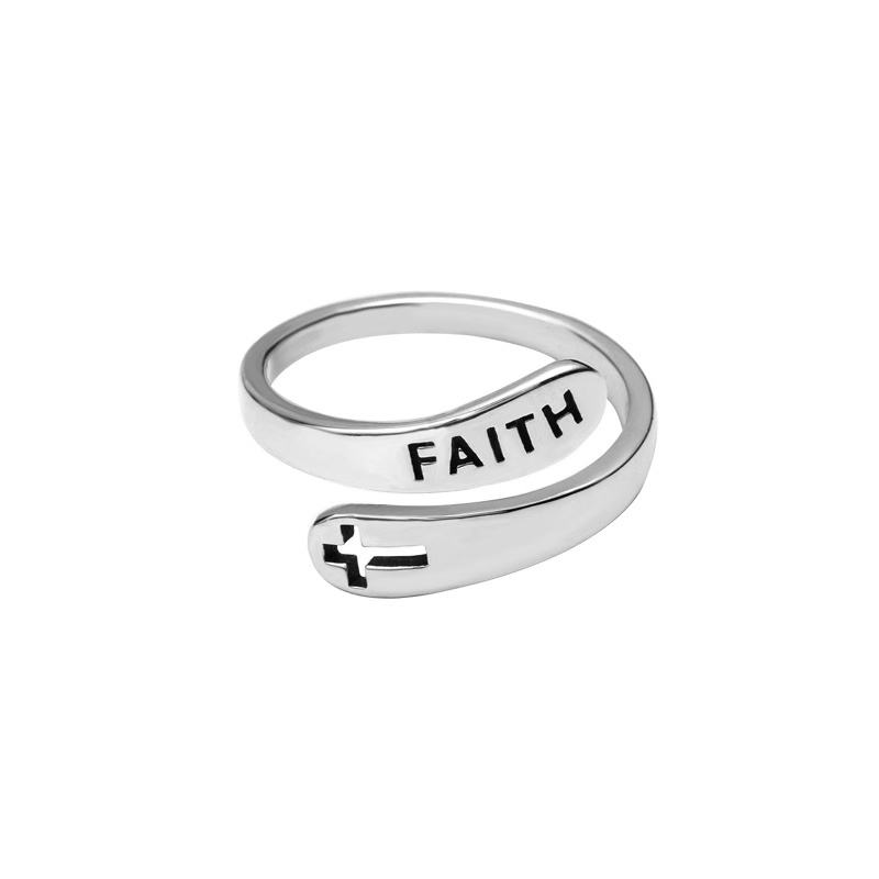 custom 925 Sterling Silver cross ring adjustable For Women and Man Spirit Phrase Faith and cross Lettering Message Ring