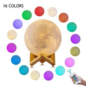 Amazon Hot Sales Touch Control Dimmable 16 Colour Moon Lamp USB Rechargeable Lunar Led Night Light with Stand for Bedroom
