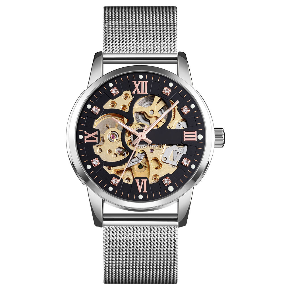 Chinese wholesale Vintage automatic cheap custom build with logo skeleton design watch