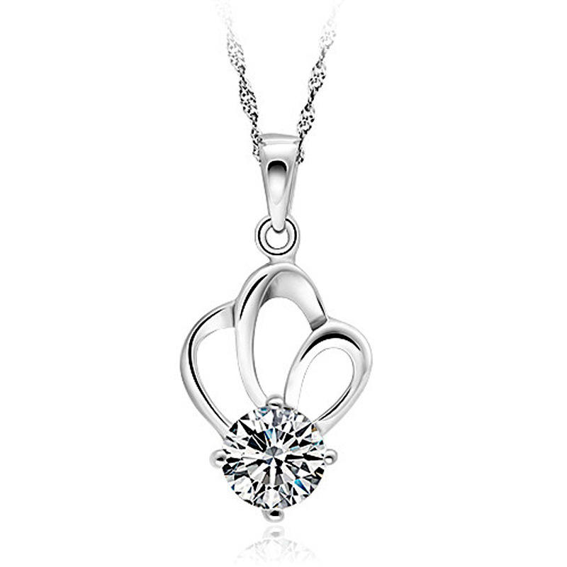 CZ Sterling Silver Crown Princess Dream Pendant Necklace Accessories Classic Platinum Jewelry