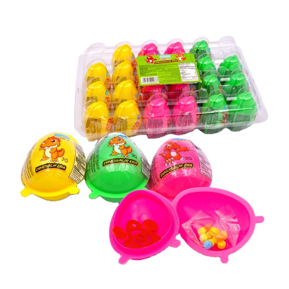 Egg toy candy funny surprise dinosaur toy with press candy