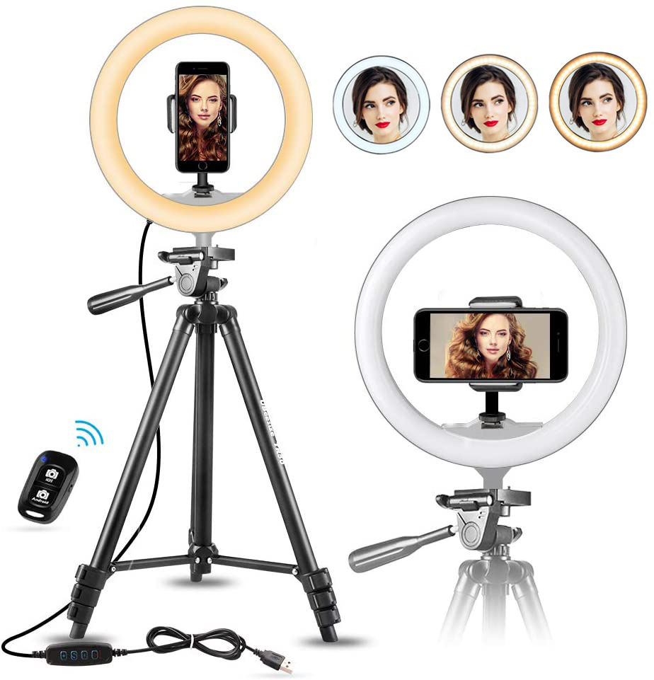 PULUZ 140cm Round Base Desktop Mount 10.2 inch RGBW LED Ring Vlogging Video Light Kits with Remote Control /& Cold Shoe Tripod Ball Head/ for YouTube Video vlogging Live Broadcast Dual Phone Bracket