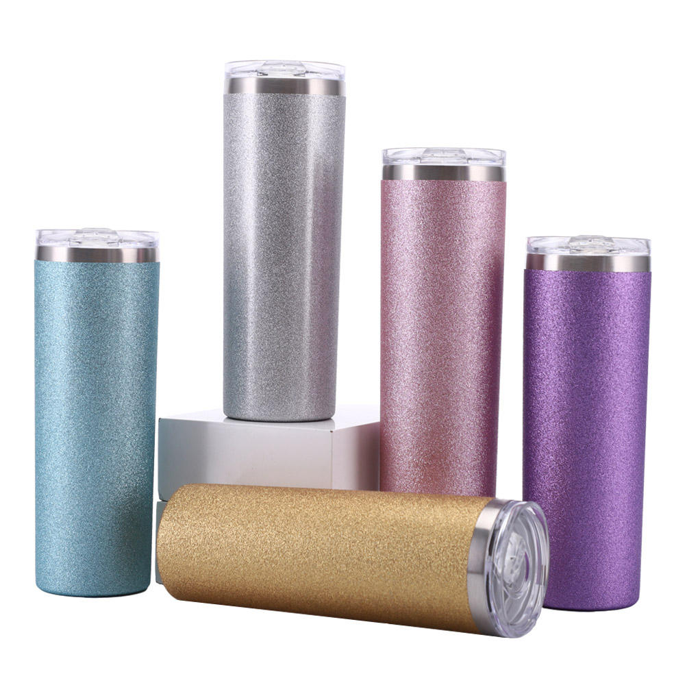 Wholesale blank sublimation 20oz stainless steel tumblers with straw custom double wall insulated glitter tumbler in bulk