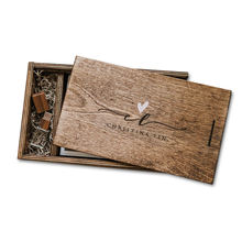 Pan storage packaging gift usb boxes custom wooden photo box for wedding