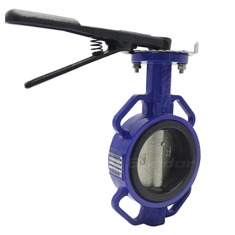 Bundor DN100 PN16 ductile iron body 6 inch 10k wafer DN50-2400 butterfly valve for civil and industrial system