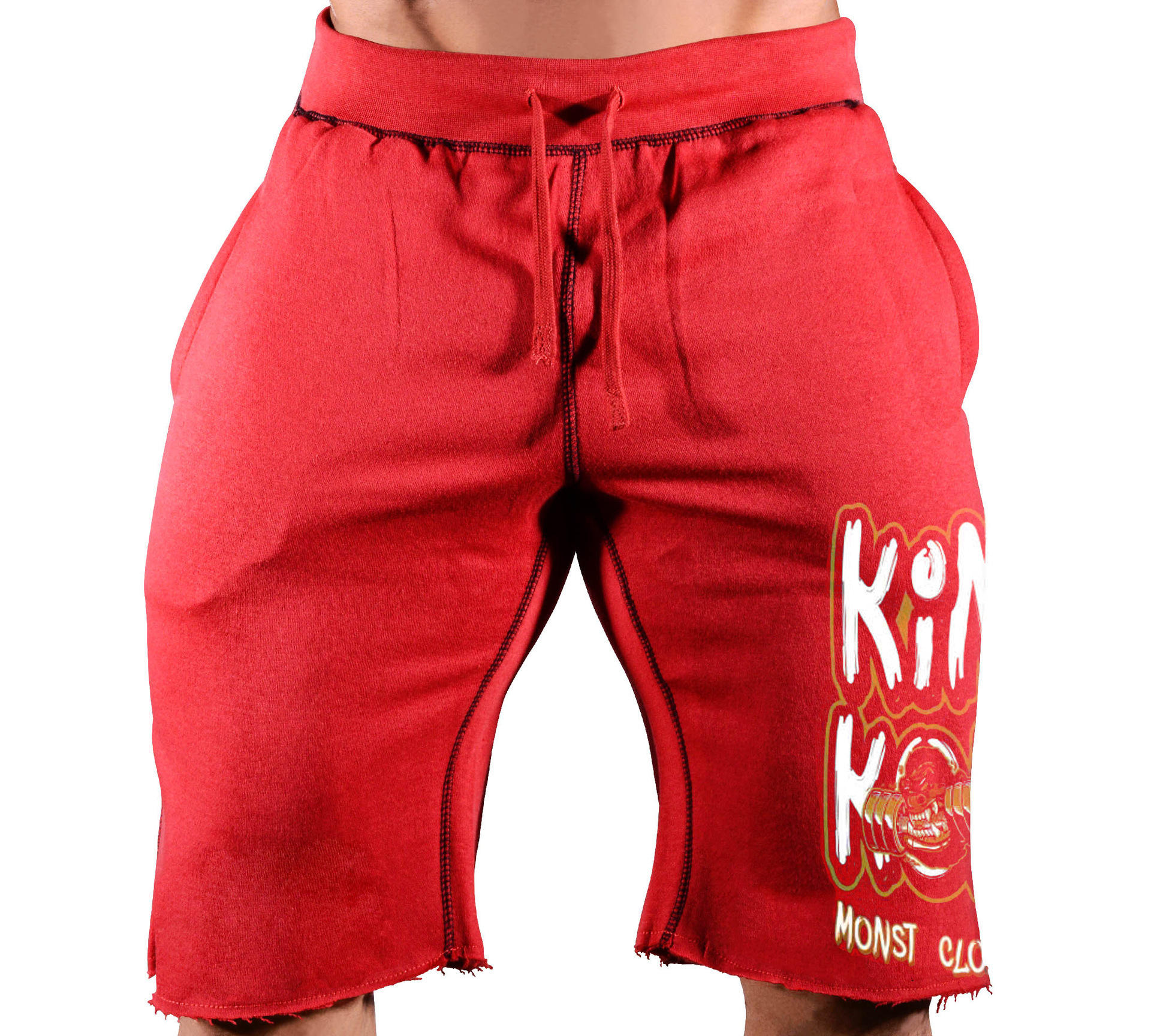 Plus size training sweat shorts men knee length red cotton french terry shorts