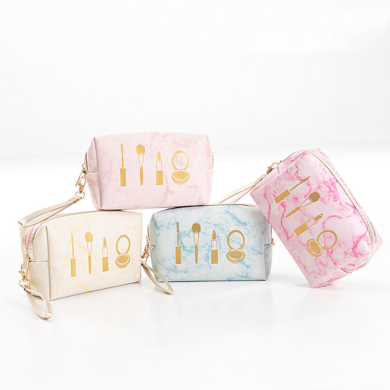 Fashion Marble Look Soft Pu Pouch With Handle Portable Travel Cosmetic Bag For Women