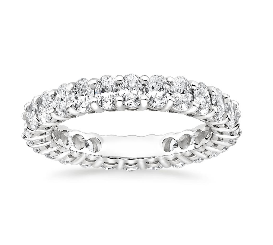 Small White CZ Eternity Band Oval Shape 925 Sterling Silver Women Wedding Rings