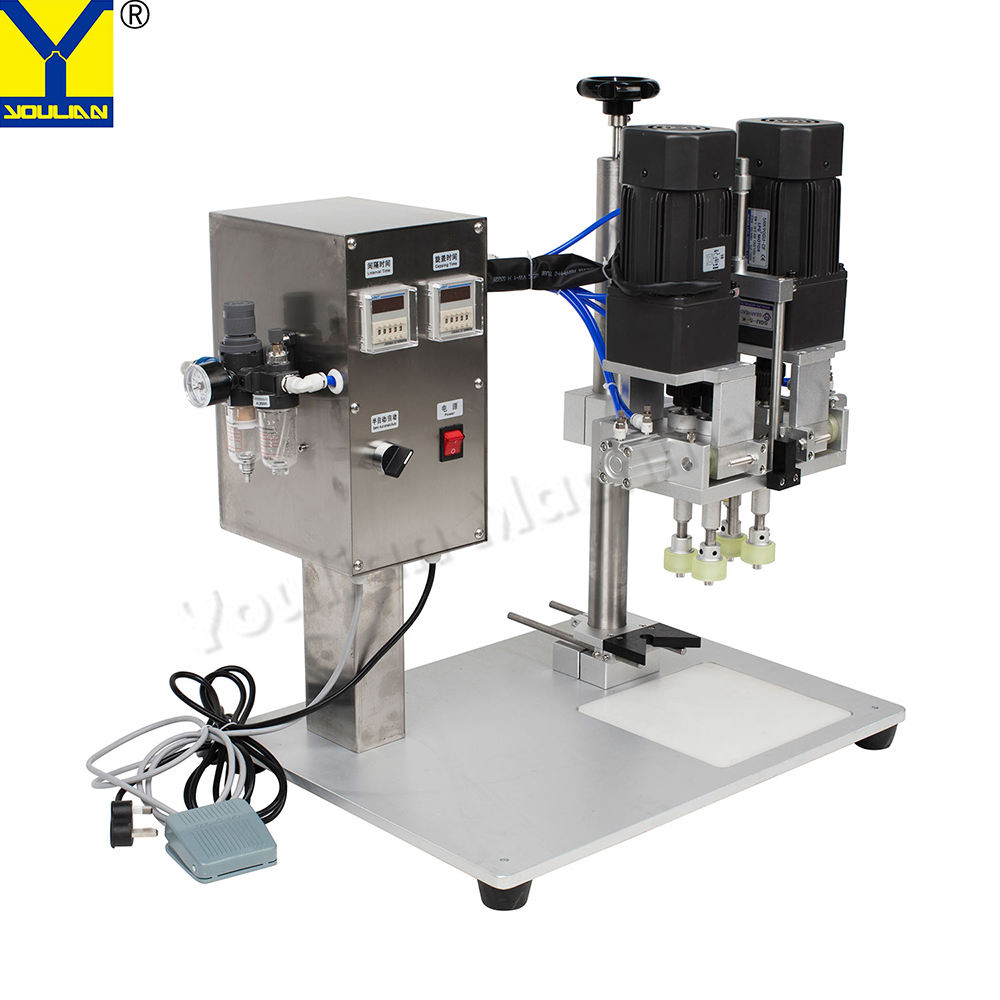 YL-P Semi-automatic Pneumatic Twist Off Trigger Spray Cap Sealer Screw Capping Machine