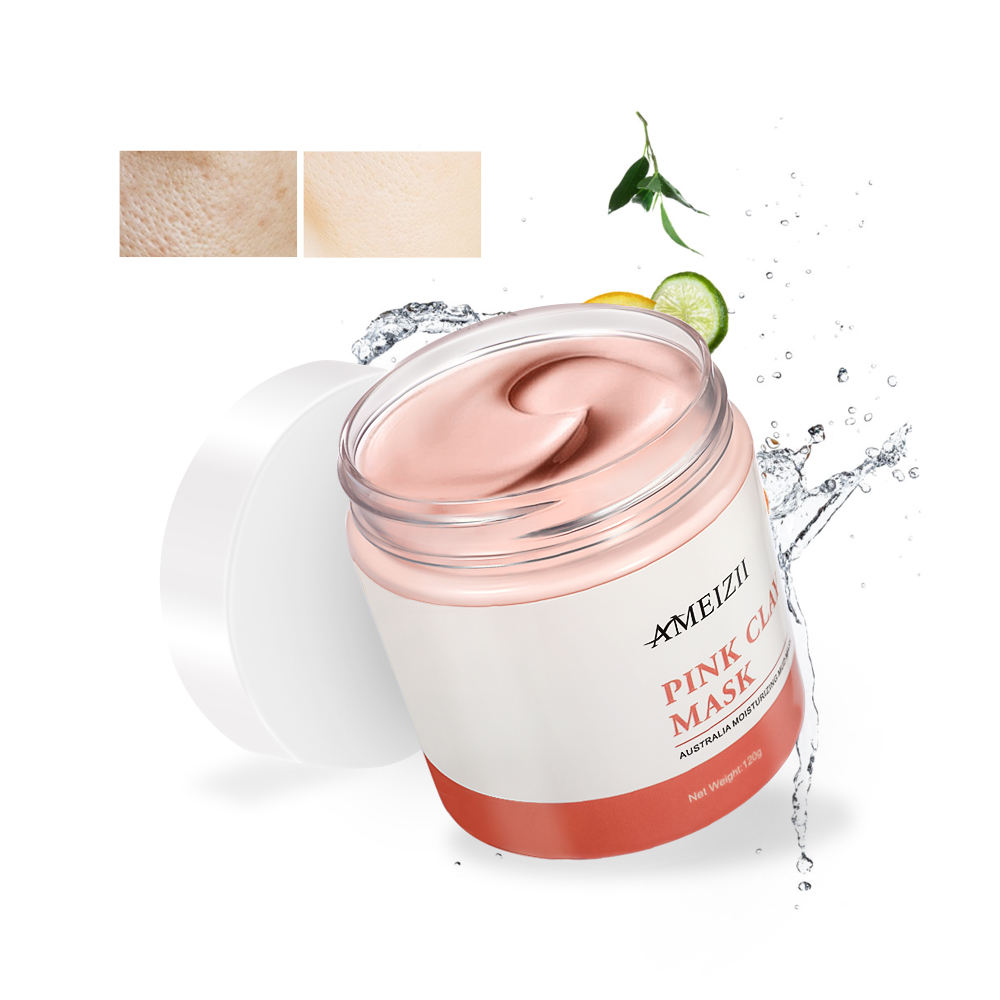 AMEIZII Natural Organic Skincare 120g Pink Clay Mask Detox Whitening Hydrating Face Care Mud Mask Washable Beauty Cosmetics