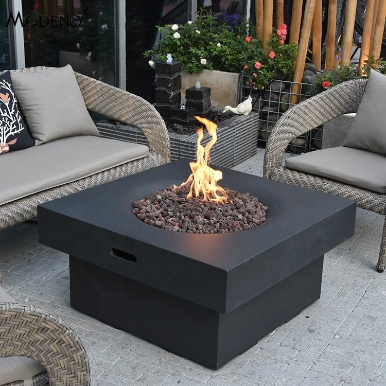 Modeno brands quad backyard fire tables chat set with lava rock
