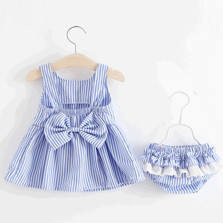 Girls Dress New Summer Children Casual Sleeveless Stripe Rainbow Color Mini Dress Princess Dress with Bowknot