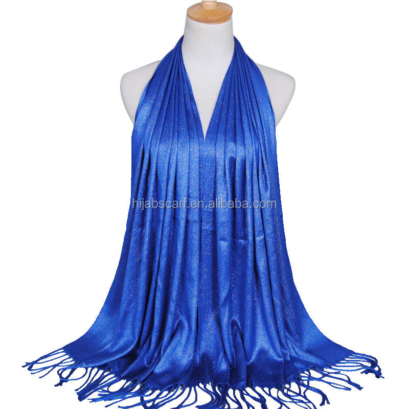 latest muslim wraps solid colors shimmer glitter lurex tassels shawls women hijab scarf