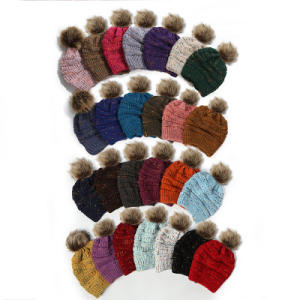 E923 Wholesale Women Lady Winter Warm Custom Knit Crochet Wool Cap Knitted Hat Colorful Skulls Free Fur Ball Pom Pom Beanie