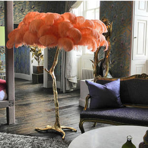 2020 Feather Solid Brass Decoration Style Floor Lamp For Living Room And Hotel,Golden Decoration Light Natural Ostrich lamp
