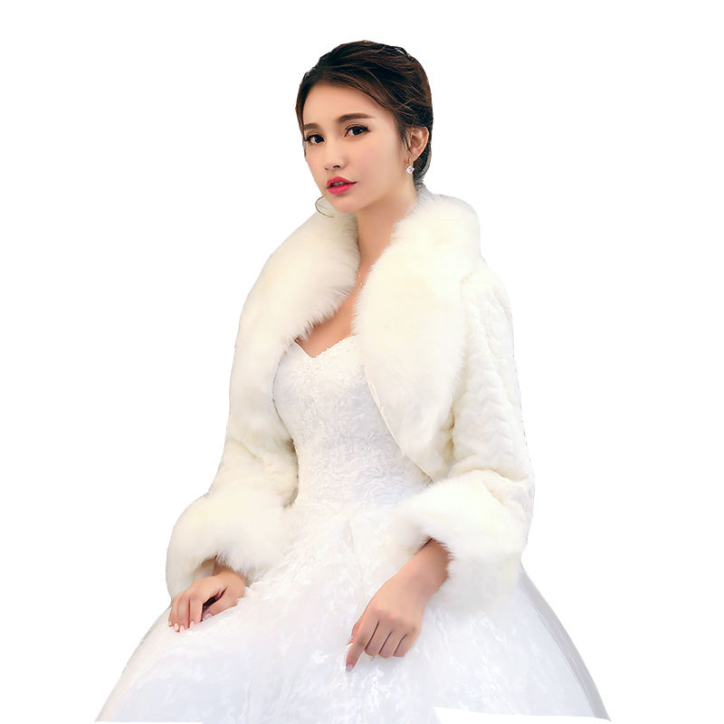 Wholesale bridal accessories new fluffy wheat pattern plush collar shawl faux rabbit fur bride jacket