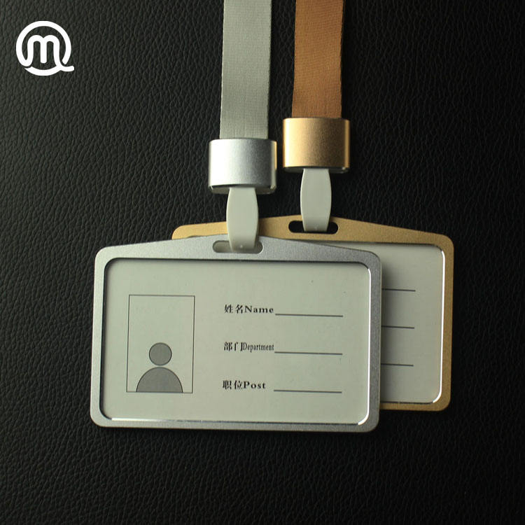 Horizontal Aluminum working ID card holder with Detachable Neck Lanyard