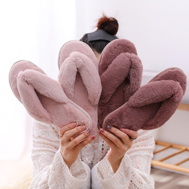 FZNYL Winter Warm Women Home Shoes Plush Slippers, Ladies Comfort Indoor Bedroom Soft faux Fur Furry Sandal Flip Flops