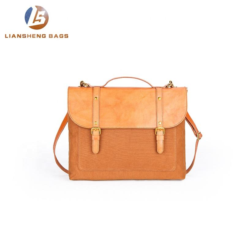 Hot Sale Canvas Genuine Leather Crossbody Laptop Shoulder Polyester Messenger Bag