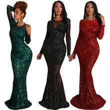 LF-2 Mujer Vestidos De Festas Longos Sexy Evening Dress Wholesale Sequin Party Dresses Women