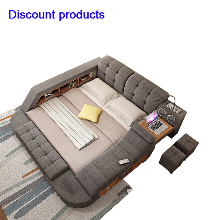 Factory Wholesale Furniture Sofa Massage Desk Room Double Multifunctional Storage Tatami Smart Bed With Speaker USB Charger