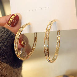 S925 Sterling Silver Needle Gold plated Hoop Earrings Hollow