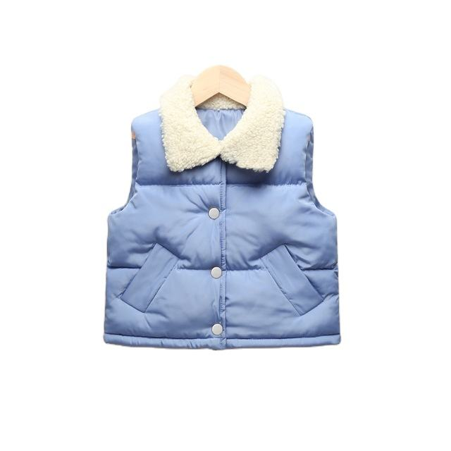 wholesale winter and autumn new children's cotton down vest baby boy girl fur collar thick vest