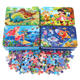 60 pieces of iron box cartoon puzzle wooden toys
