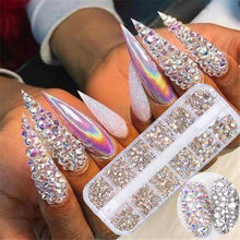 12 Boxes Mixed Sizes Flat Back AB Crystal Rhinestone Diamond 3D Charm DIY Manicure Nail Art Decorations