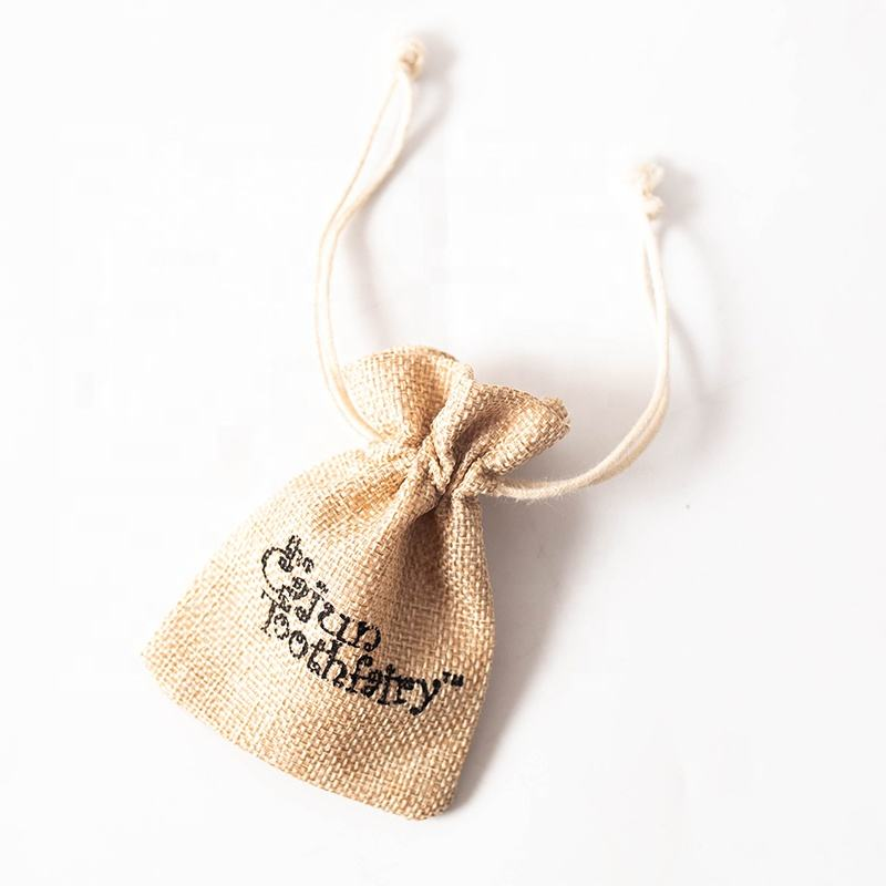 Natural Burlap Drawstring Bag Jute Fabric Gift Packing Pouches With Soft Fabric Lining