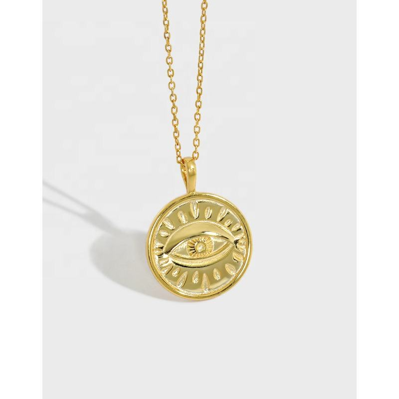 INS Popular S925 Sterling Silver Eye Necklace Engraving 18K Gold Plated Eye Pendant Necklace for Women
