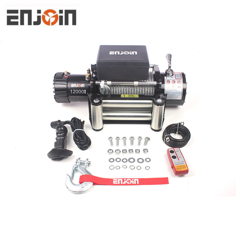 ENJOIN 12V Steel Cable Electric Winch 12000 lb Load Capacity
