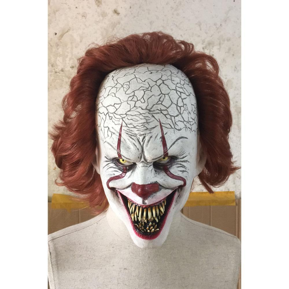 Stephen King's It Pennywise Mask Latex Halloween Scary Horror Clown Mask Chapter Two 2 Pennywise Joker Clown mask