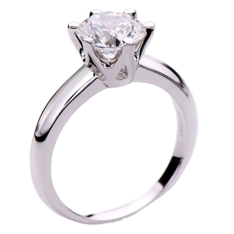Wholesale white moissanite ring 2carat main stone round shape Classic six claw engagement ring