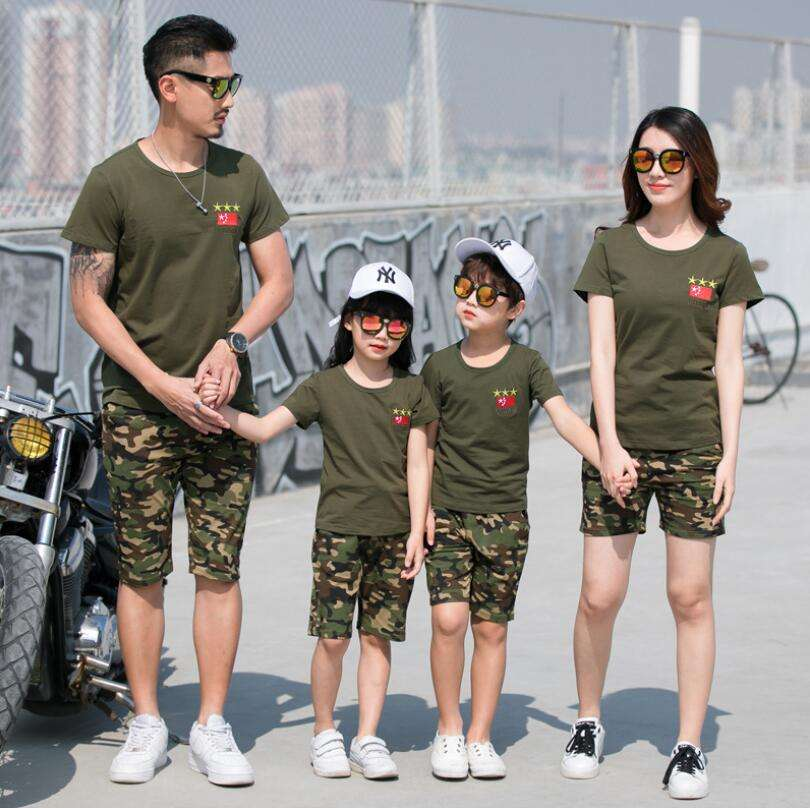PJ0217A Embroidery Parent-child clothing set summer family matching sets Kids clothing short T-shirt short pants 2 pieces suit