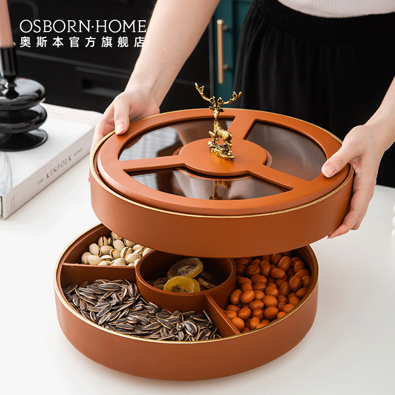 OSBORN Light luxury dried fruit plate compartment with lid rotating storage box candy box nut plate snack plate