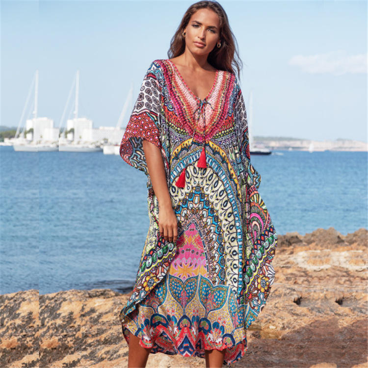 D3689 Women's Digitale Gedrukt Lange Kaftan Zwemmen Summer Beach Cover Up