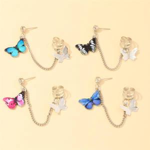 New romantic butterfly earrings punk cool girl no ear piercings ear clip