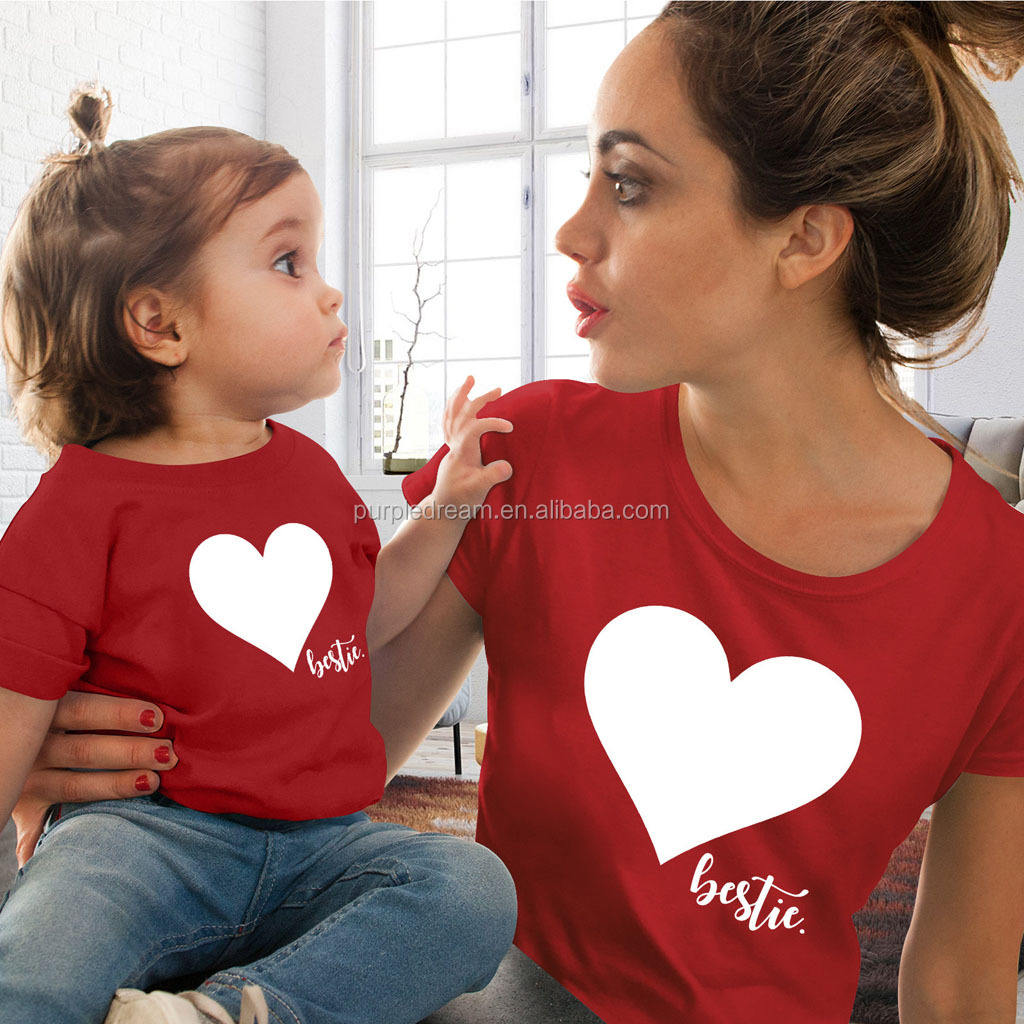 Amazon Hot Selling Clothes Family Matching Clothing Hearted Print Summer T-shirt For Mother Daughter