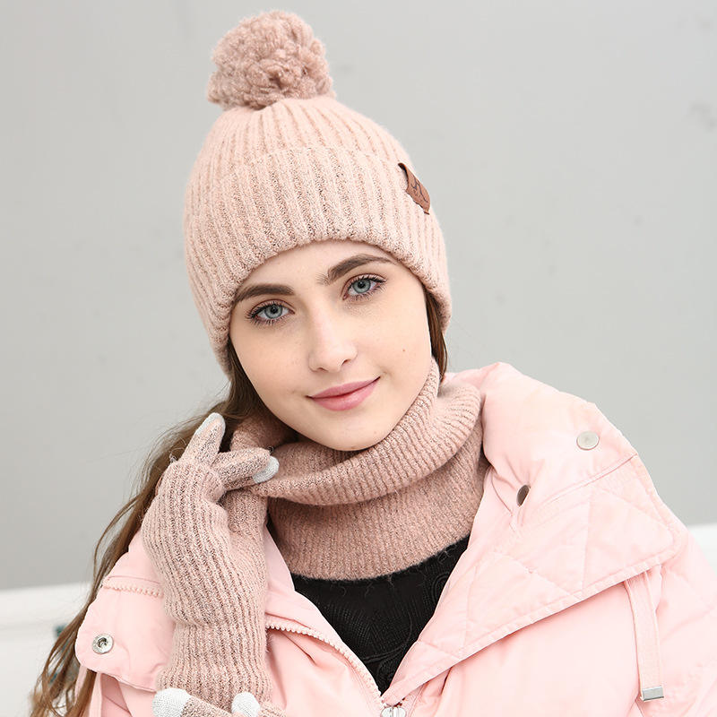 B1057 Winter Warm Knit Beanie Hat Long Scarf Non-Slip Touch Screen Custom Scarf Hat Glove Sets for Women